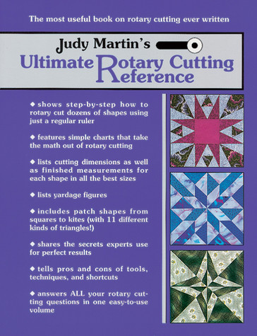 "Judy MartinÍs Ultimate Rotary Cutting Reference is an indispensable volume that will answer all your questions. Do you cut patches that don't fit together? Learn how to cut perfect, accurate patches the first time, every time. Do you have the right tools for the job? Find out the best tools for a basic kit, and what you will want to add later. Does your ruler slip? Discover four ways of preventing this problem. Are you afraid of the bias? Learn five secrets to help you master it. Do you know the best sizes to rotary cut octagons and star blocks? See how Magic Measures can help you. Do you want to make quilts as good as the ones you see in shows? Learn the secrets the experts use to achieve perfect results. Do you waste time and fabric using """"shortcuts"""" that are nothing more than time-consuming detours? Find out how various methods compare. Are you tired of wasting fabric? Learn the most efficient way to cut everything from triangles to prisms, including true diamonds, hexagons, kites, and snowballs. Do you rotary cut? Then you need Judy Martin's Ultimate Rotary Cutting Reference."