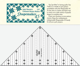 The Shapemaker 45 features: unique, multipurpose design that lets you cut prisms, trapezoids, bow ties, snowballs, triangles, and more in a full range of sizes; easy instructions and diagrams for cutting a multitude of shapes more quickly and efficiently than ever before possible; distinctive, read-at-a-glance rulings; accurate, fine lines; big, clear numbers, and break-resistant plastic.