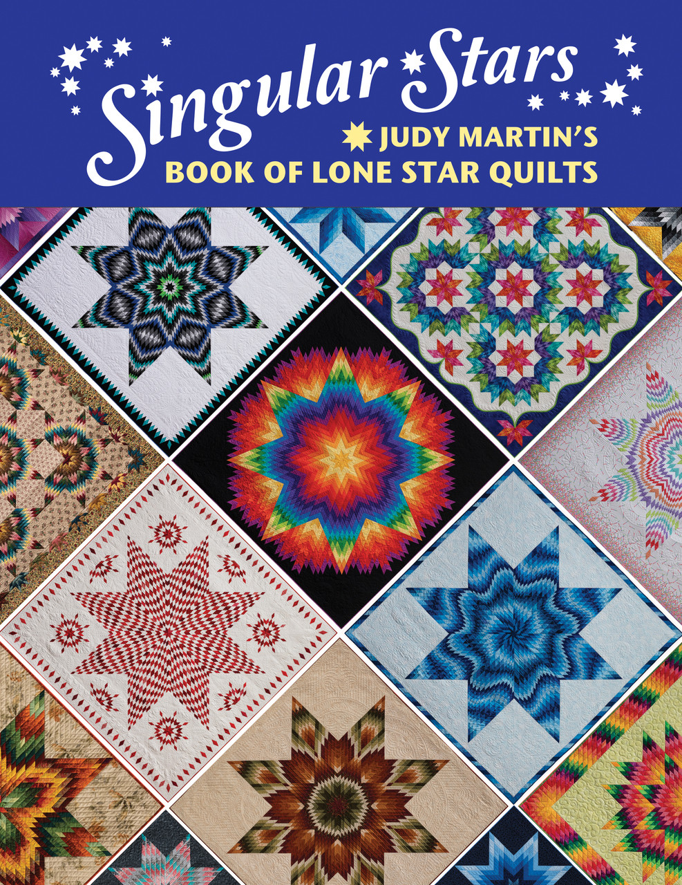 This wonderful book features patterns for 18 sewn and photographed quilts. But those 18 quilts are just the starting point. Singular Stars has everything you need to make an additional 163 variations of the photographed quilts. And those 163 variations are also just a starting point as they represent a tiny fraction of the thousands of quilts possible with this incredible volume! Rather than make Lone Stars of concentric rings of diamonds, Judy realized that by making each of the 8 star arms in 4 asymmetrical sections, she could play with the orientation and the arrangement of each section to create a seemingly limitless number of possibilities. (Think of how you can play with Log Cabin blocks before you assemble the quilt. Now with Judy's designs it's possible to do the same with Lone Stars.) Some of the Lone Stars vary the sizes of the diamonds within the block, thus creating some lovely effects. Another category of Lone Stars plays with the placement of color within a regular block, which allows you to get a lot of interesting looks. Plus, related sizes allow you to mix and match many of the border or background elements to offer even more possibilities. Of course, if you prefer, you can simply follow the pattern and make a gorgeous quilt just like you see in the photograph. Judy Martin uses her half-century of quilt-making experience to give quilters the ultimate guidance for mastering Lone Star quilts. She shows how to get your seam allowance perfect, which is the most important factor in patchwork. She discusses how to master joints, press seams, and work with the more stable lengthwise grain. Most of the quilts in Singular Stars can be made without Y-seams. With its thrilling bounty of groundbreaking designs and its detailed guidance on every aspect of making a Lone Star quilt, Singular Stars is the most thorough, the most ingenious, book on Lone Stars ever written. There really is no other book like it.
