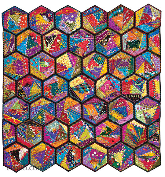 Foolproof Crazy Quilting: Visual Guide - 25 Stitch Maps •100+ Embroidery & Embellishment Stitches by Jennifer Clouston #FoolproofCrazyQuilting