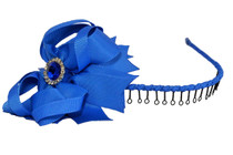Headband - Royal Blue Ribbon Wrapped with Royal Blue Bow and Bling