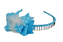 Headband - Baby Blue with White Polka Dots and Fluff