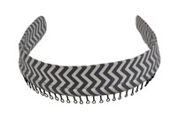 Headband - Gray Chevron with Silver Shimmer