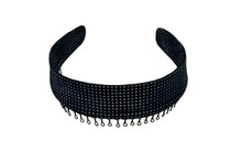 Headband - Dark Blue Jean with Silver Glitter Sparkles