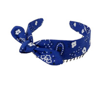 Headband - Royal Blue Bandana Faux Tie