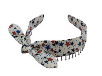 """Headbands - Stars in Red and Blue on White with a Bow """"Faux Tie"""""""