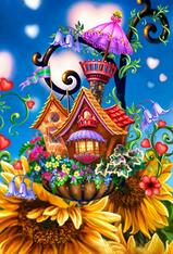 Flower Cottage - Premium, Diamond Painting - Square - 40x50 - Free Shipping