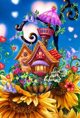 Flower Cottage - Premium, Diamond Painting - Round - 40x50 - Free Shipping