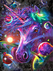 Space Unicorn - Premium Diamond Painting - Round - 40x50 - Free Shipping