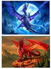 Dragons Blue & Red - Pair (2) Premium Diamond Paintings - Round - 30x40 each - Free Shipping