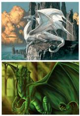 Dragons Green & White - Pair (2) Premium Diamond Paintings - Round - 30x40 each - Free Shipping