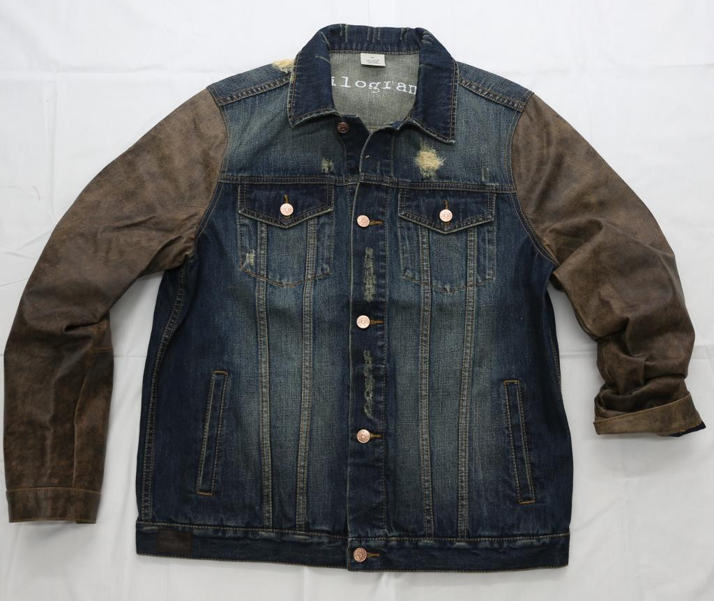 129e3b75 Distress Leather Denim Jackets KG9141 - Kilogram Clothing