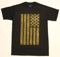 Black S/S Tee with Golden Brown Flag print