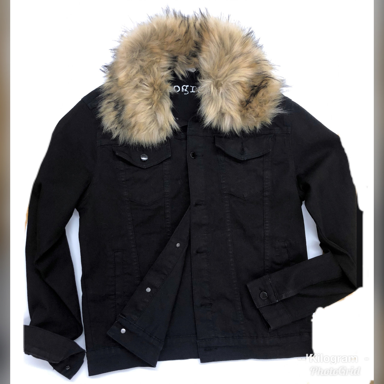 c0e46869 Detachable Faux Fur Denim JACKET KG7803 - JET BLACK - Kilogram Clothing