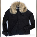 Detachable Faux Fur Denim JACKET KG7803  - JET BLACK