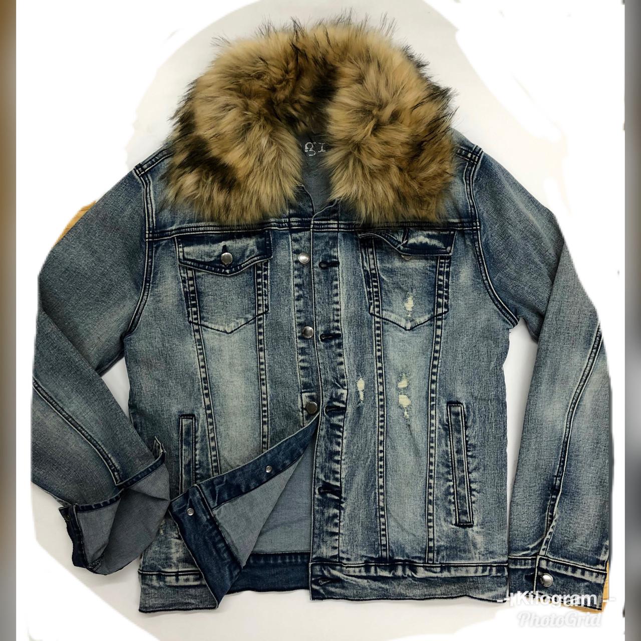 28085603 Detachable Faux Fur Denim JACKET KG7802 - LT BLUE - Kilogram Clothing