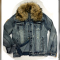Detachable Faux Fur Denim JACKET KG7803  - VINTAGE BLUE