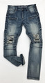 MOTOR BACKING DISTRESS RIP JEANS KG2853- MED BLUE