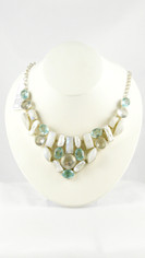 Light Blue Topaz Moonstone & Pearl Necklace in Silver