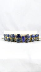 Cushion Cut Lapis Bracelet in Silver