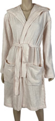 Ivory Barefoot Dreams Cozy Lite Hooded Short Robe in Ivory