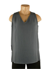 Fridaze Linen Sleeveless Top Charcoal Grey