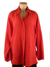 URU Clothing Silk Tuscan Style Blouse in Perfect Red (fits L-1X) SALE