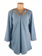 URU Clothing Silk Bias Cut Cruise Style Blouse Periwinkle