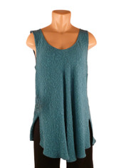 URU Clothing Bias Cut Silk Sleeveless Top in Teal