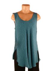URU Clothing Bias Cut Silk Sleeveless Top in Teal