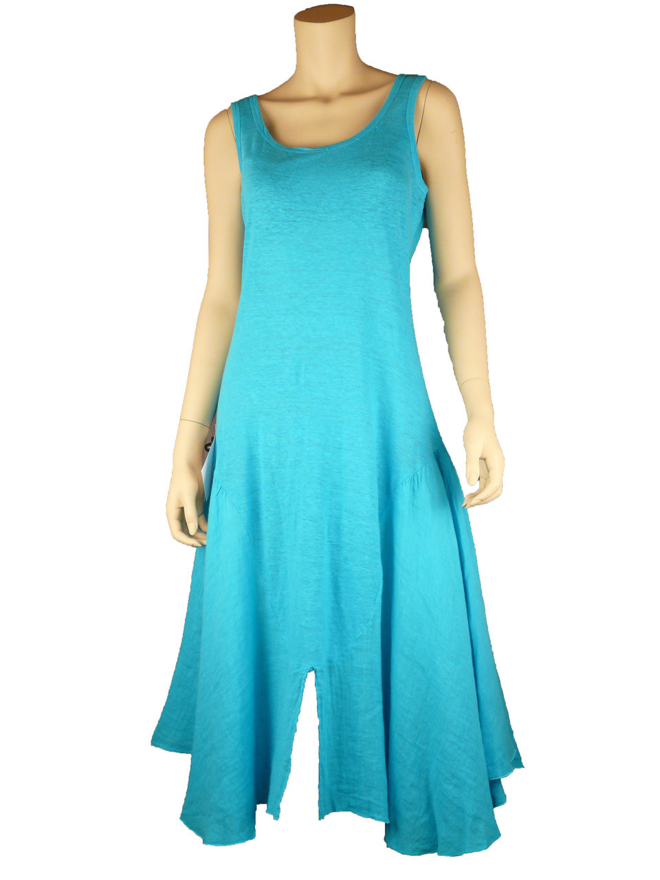 Color Me Cotton CMC Cool & Chic Linen Dress in Caribe Blue CLEARANCE PRICE