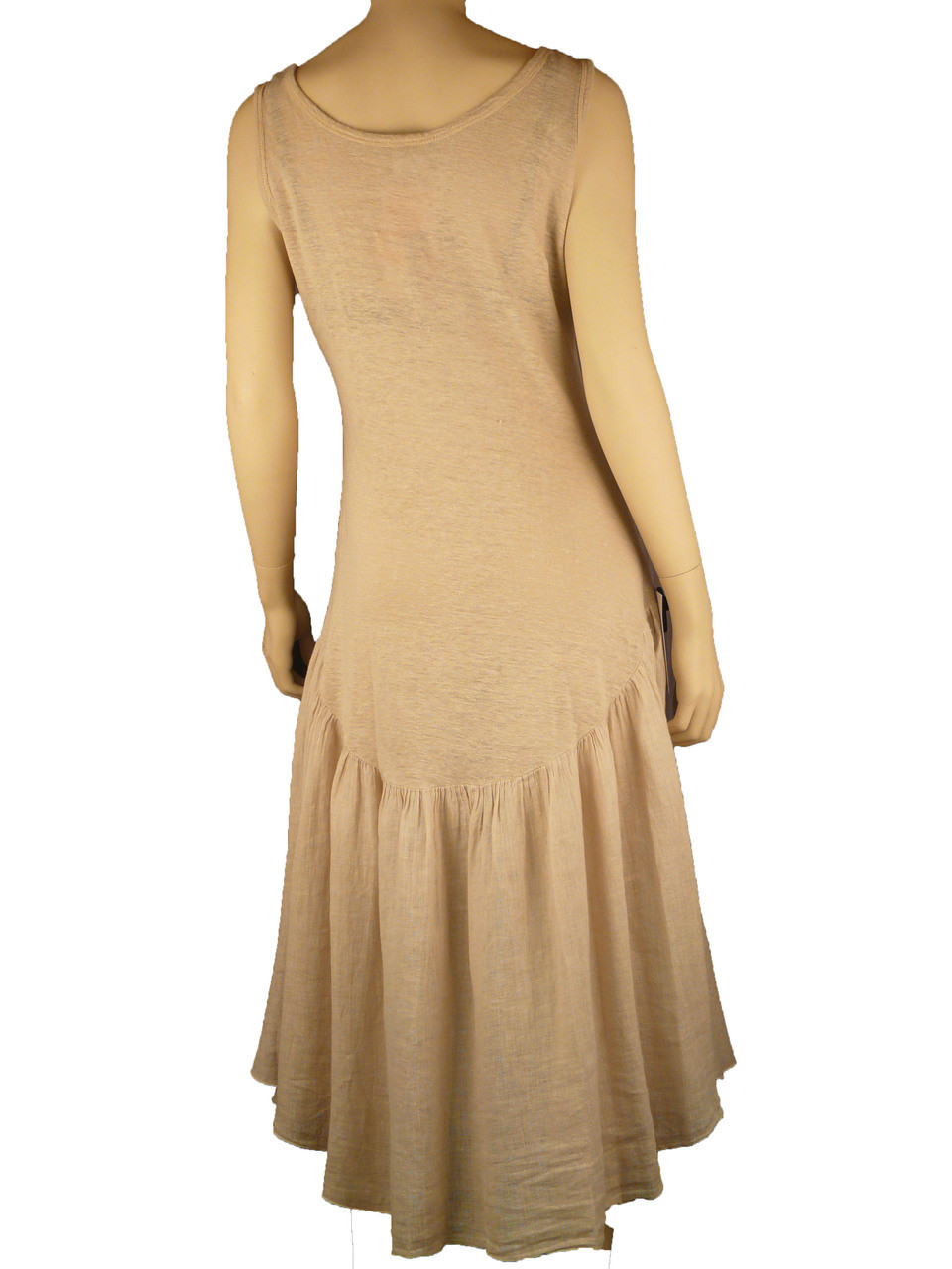 Color Me Cotton CMC Cool & Chic Linen Dress in Sand Beige CLEARANCE PRICE