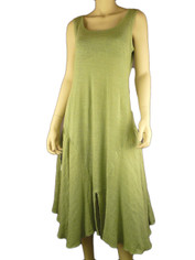 Cool & Chic Linen Dress by Color Me Cotton Light Moss