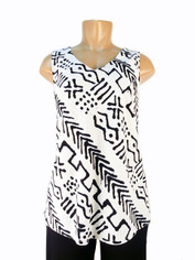 Tencel Sleeveless Tribal Print Top Black on Dove Grey by Tianello