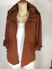 Color Me Cotton CMC French Terry Alana Hoodie Jacket in Rust   XLarge