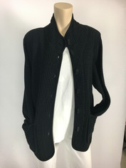 Focus Fashions Classic Waffle Jacket in Black CLEARANCE SALE