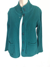 Focus Fashions Classic Waffle Jacket in Evergreen   Small CLEARANCE