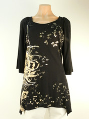 Black Jersey Tunic with Beige Flower and Silver Accents by Katina