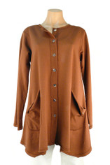 French Terry Cotton Alex Shirt/Jacket in Nutmeg by Color Me Cotton Last One 2X CLEARANCE PRICEne 2X
