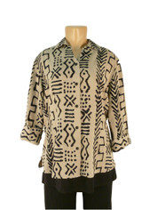 Tencel Tribal Print Shirt in Taupe by Tianello