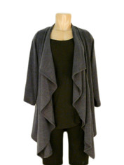 Drape Front Sweater in Charcoal Grey by I C Fashions