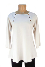 Color Me Cotton CMC Supima Cotton Laurie Top in White on Sale