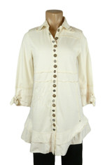 Neon Buddha Detailed Button Journey Tunic in Ivory