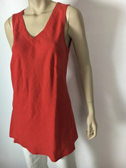 Color Me Cotton CMC Linen Sleeveless Sabrina Top in Cherry Red