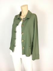 Color Me Cotton French Terry Jen Jacket in Oregano Green  Clearance