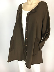 Color Me Cotton Alex Shirt/Jacket in Chocolate Brown CLEARANCE  2XL