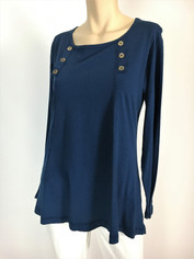 Color Me Cotton CMC Supima Cotton Laurie Top in Navy Sale
