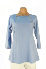 Color Me Cotton CMC Supima Jersey Laurie Top in Pale Blue