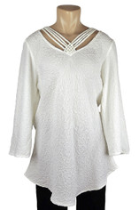 URU Clothing Silk Bias Cut Cruise Style Blouse in Winter White (fits M-XL) SALE