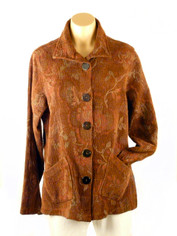 Tapestry Jacket by Color Me Cotton in Brown and Moss Green Leaves